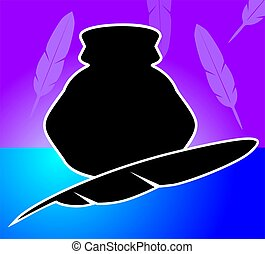 Quill - Illustration of a quill and inkpot