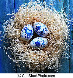 Easter eggs photo - Cute retro photo with blue easter eggs