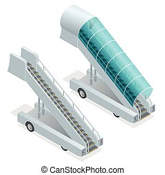 Two ramps on the airfield. Movable ramp isolated illustration. Movable ramp Vector. Movable ramp Icon EPS. Boarding white ramp. Movable ramp 3d isometric picture. Ladder ramp is waiting for airplane.