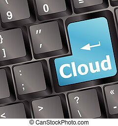 keyboard with cloud computing button vector illustration