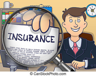 Insurance through Magnifying Glass Doodle Concept -...