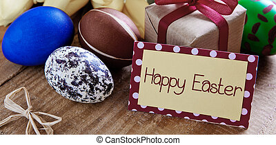 Happy Easter card - Colorful easter eggs with yellow tulip...
