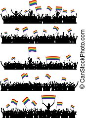 LGBT cheering crowd - Cheering or protesting LGBT people...