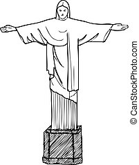 Cristo Redentor - a silhouette of the landmark of brazil
