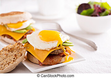 Breakfast burger with avocado, cheese and bacon - Breakfast...