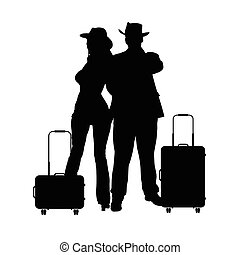 couple with travel bag illustration silhouette in black