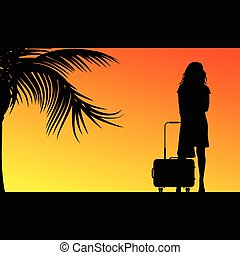 girl with travel bag illustration