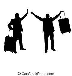 man set with travel bag silhouette illustration in black