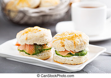 Homemade biscuits with cream cheese and lox - Homemade...