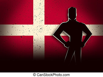 Silhouette Illustration of a Man Standing in Front of Denmark Flag