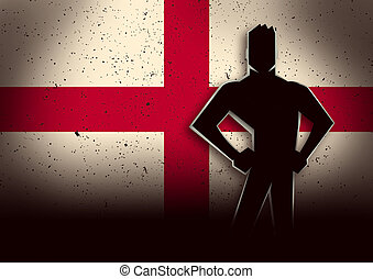 Silhouette Illustration of a Man Standing in Front of England Flag