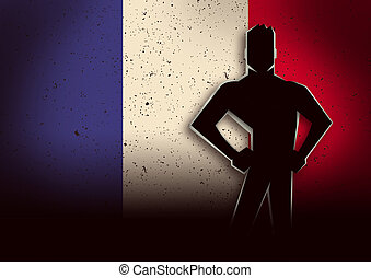 Silhouette Illustration of a Man Standing in Front of France Flag