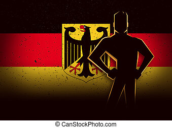 Silhouette Illustration of a Man Standing in Front of Germany Flag