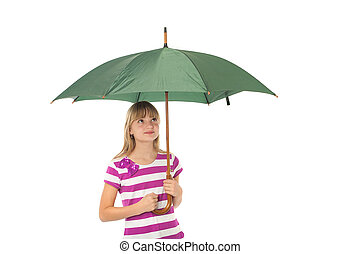 Gril with umbrella - Beautiful young girl holding a green...