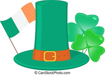 Saint Patricks day attributes, Shamrock, irish hat and flag