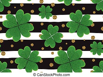 Seamless pattern with green clover leaves, gold gitter...