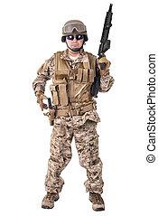 soldado, em, uniforme, Pronto, Para, luta,