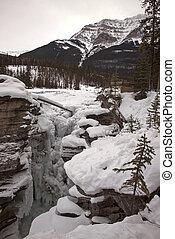 Athabasca Falls in Winter Jasper Alberta Canada