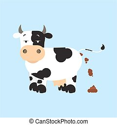 Cow shitting - Dutch dairy cow pooping Isolated Blue...