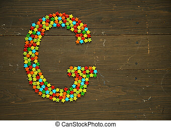 Letter G made with candy - Letter G from alphabet made with...