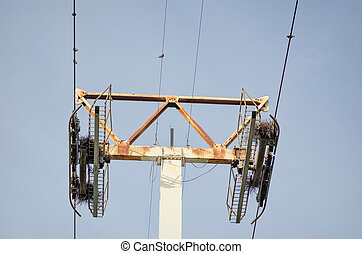 Cableway pylon - Somewhat weathered and rusty cableway pylon