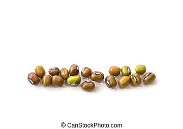 Macro mung bean isolated on white background