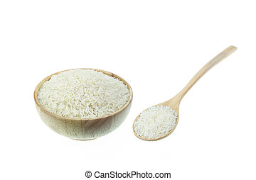 Close up Thai jasmine rice in wooden bowl isolated on white...