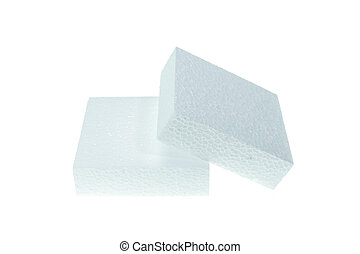 White foamed polystyrene isolated on white background -...