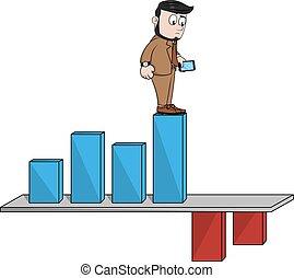 Down bar business chart