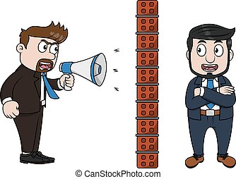 Angry boss shouts through megaphone Employee blocks...