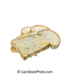 Stack of moldy bread isolated on white background - Close up...