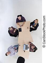 Grupo, negócio, pessoas, aéreo, reunião, vista