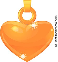 Gold heart pendant vector icon - Vector illustration of a...