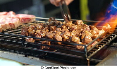 Beef steak flamed on bbq taiwan - Beef steak dice cooking...