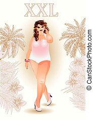 Plus size pretty travel girl, vector illustration