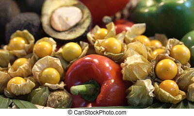 Colourful vegetable and fruits - Pile of vegetable and...
