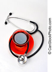 stethoscope with coffee beans - stethoscope with a cup...