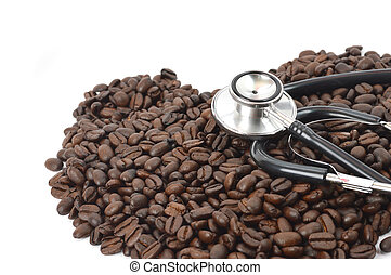 stethoscope with coffee beans - stethoscope with heart shape...
