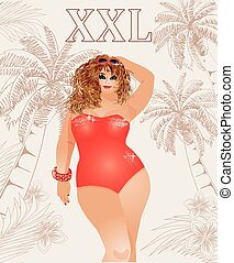 Plus size sexy travel girl, vector illustration