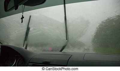 view of the rain through the windshield of the car