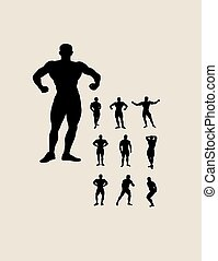 Body Building Silhouettes, art vector design