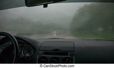 rain outside the window of the car
