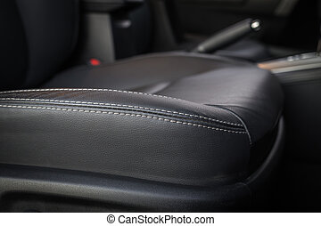 Detail of new modern car interior, Focus on seat leather...