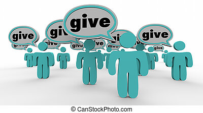 Give Generous People Sharing Donate Contribute Speech Bubbles
