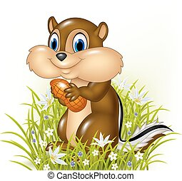 Cartoon chipmunk holding peanut - Vector illustration of...