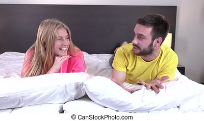 Romantic young couple in bed at home room - Romantic young...