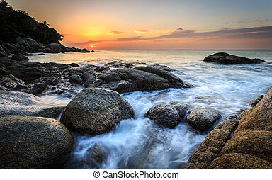 Beautiful sunset at Karon beach in Phuket, Thailand