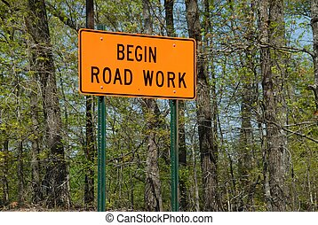 road work ahead sign - Road work ahead sign photographed at...