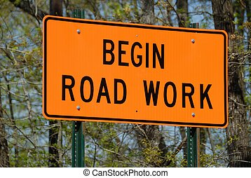 road work ahead sign photographed at rural georgia