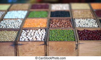 colourful variety of beans Multi grain protein food